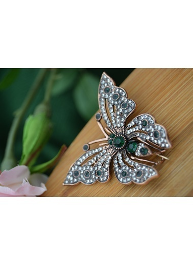 Stoneage Kelebek Broş Zümrüt Taşlı Yaka İğnesi Yeşil